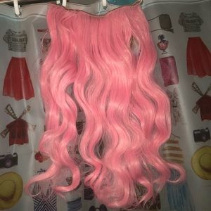 Pink clip-in hair extension track